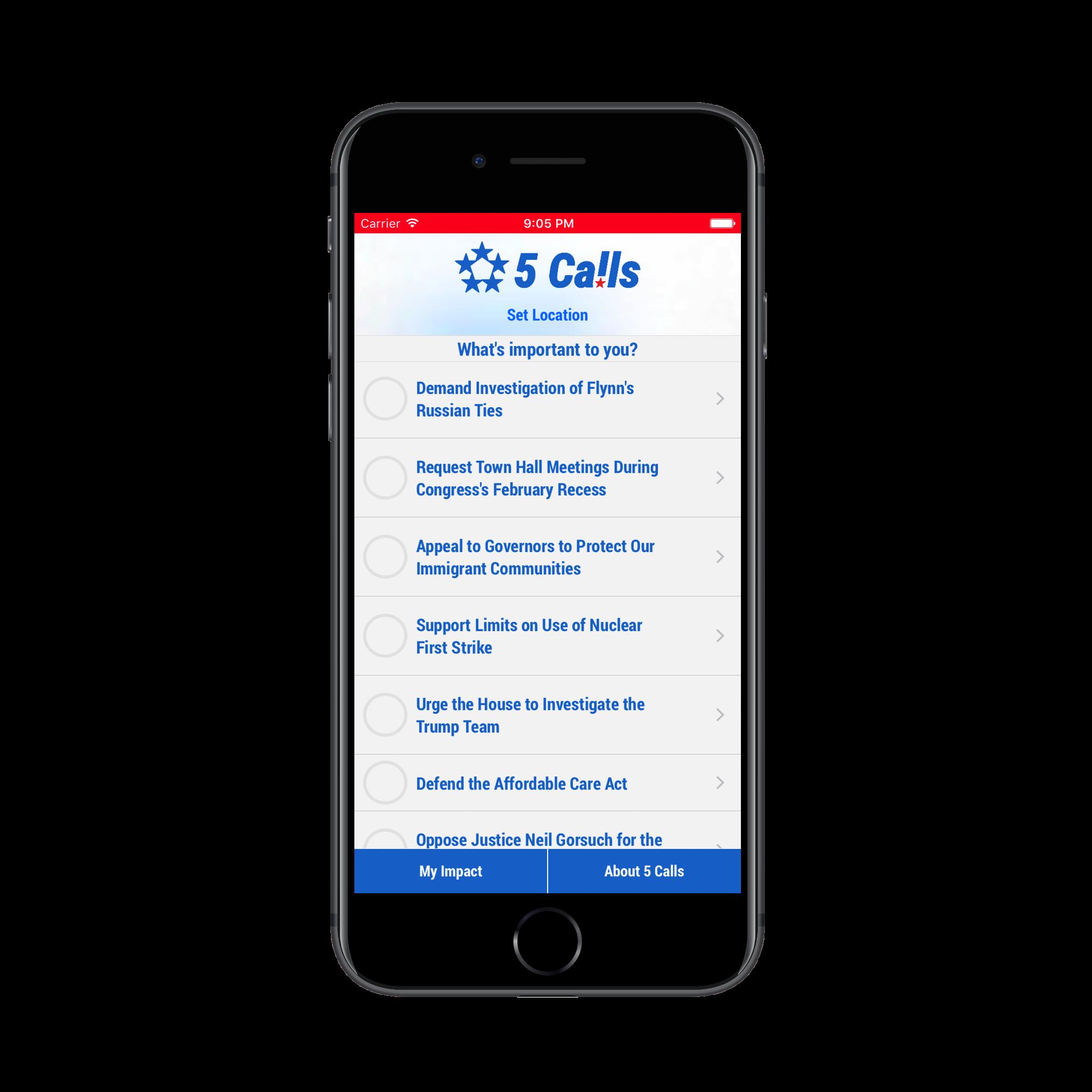 5 Calls - Issue List